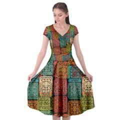 Stract Decorative Ethnic Seamless Pattern Aztec Ornament Tribal Art Lace Folk Geometric Background C Cap Sleeve Wrap Front Dress