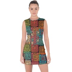 Stract Decorative Ethnic Seamless Pattern Aztec Ornament Tribal Art Lace Folk Geometric Background C Lace Up Front Bodycon Dress