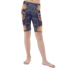 Skull Pattern Kids  Mid Length Swim Shorts