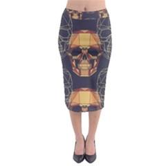 Skull Pattern Midi Pencil Skirt