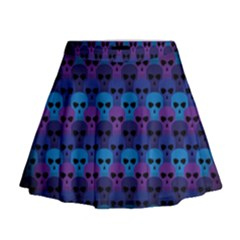 Skull Pattern Wallpaper Mini Flare Skirt