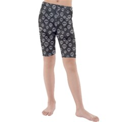 Skull Halloween Background Texture Kids  Mid Length Swim Shorts