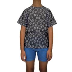 Skull Halloween Background Texture Kids  Short Sleeve Swimwear