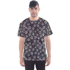 Skull Halloween Background Texture Men s Sports Mesh Tee