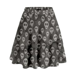 Skull Halloween Background Texture High Waist Skirt