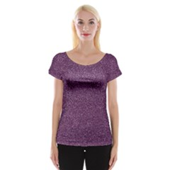 Purple Colorful Glitter Texture Pattern Cap Sleeve Tops