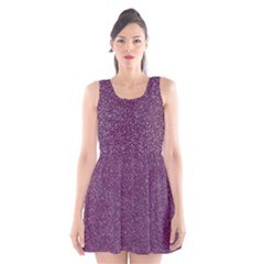 Purple Colorful Glitter Texture Pattern Scoop Neck Skater Dress