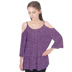Purple Colorful Glitter Texture Pattern Flutter Tees