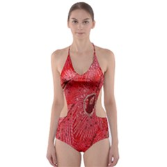 Red Peacock Floral Embroidered Long Qipao Traditional Chinese Cheongsam Mandarin Cut Out One Piece Swimsuit
