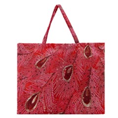 Red Peacock Floral Embroidered Long Qipao Traditional Chinese Cheongsam Mandarin Zipper Large Tote Bag