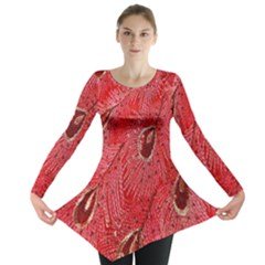 Red Peacock Floral Embroidered Long Qipao Traditional Chinese Cheongsam Mandarin Long Sleeve Tunic