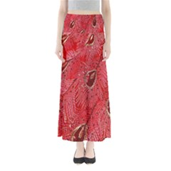 Red Peacock Floral Embroidered Long Qipao Traditional Chinese Cheongsam Mandarin Full Length Maxi Skirt