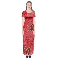 Red Peacock Floral Embroidered Long Qipao Traditional Chinese Cheongsam Mandarin Short Sleeve Maxi Dress