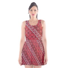 Red Batik Background Vector Scoop Neck Skater Dress
