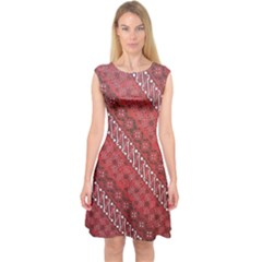 Red Batik Background Vector Capsleeve Midi Dress