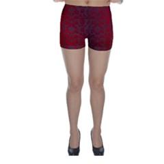 Red Dark Vintage Pattern Skinny Shorts