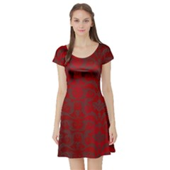 Red Dark Vintage Pattern Short Sleeve Skater Dress