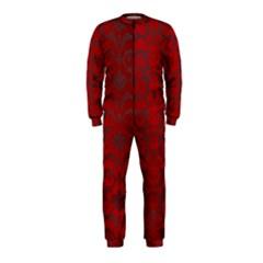Red Dark Vintage Pattern Onepiece Jumpsuit (kids)