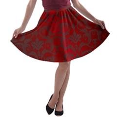 Red Dark Vintage Pattern A Line Skater Skirt