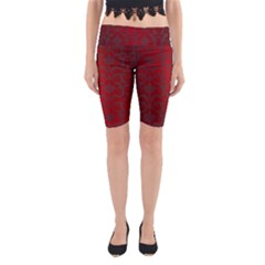 Red Dark Vintage Pattern Yoga Cropped Leggings