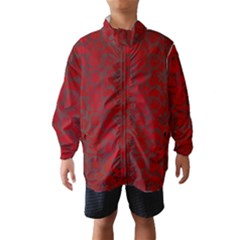 Red Dark Vintage Pattern Wind Breaker (kids)