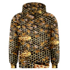 Queen Cup Honeycomb Honey Bee Men s Zipper Hoodie