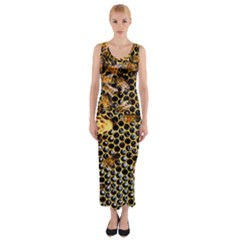 Queen Cup Honeycomb Honey Bee Fitted Maxi Dress