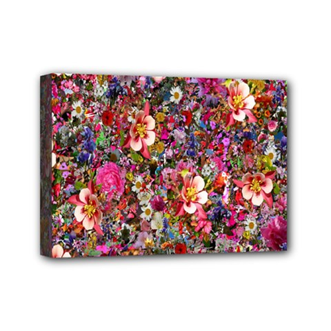 Psychedelic Flower Mini Canvas 7  X 5