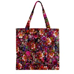 Psychedelic Flower Zipper Grocery Tote Bag