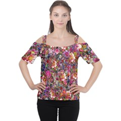 Psychedelic Flower Cutout Shoulder Tee