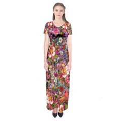 Psychedelic Flower Short Sleeve Maxi Dress