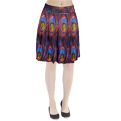 Pretty Peacock Feather Pleated Skirt
