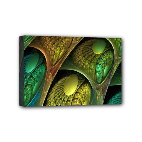 Psytrance Abstract Colored Pattern Feather Mini Canvas 6  X 4