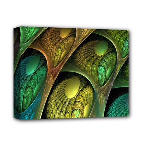 Psytrance Abstract Colored Pattern Feather Deluxe Canvas 14  X 11