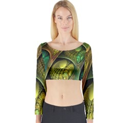 Psytrance Abstract Colored Pattern Feather Long Sleeve Crop Top