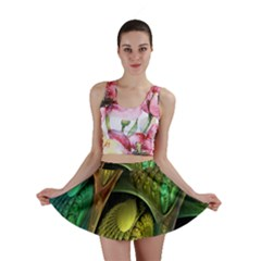 Psytrance Abstract Colored Pattern Feather Mini Skirt