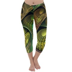 Psytrance Abstract Colored Pattern Feather Capri Winter Leggings