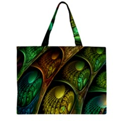 Psytrance Abstract Colored Pattern Feather Zipper Mini Tote Bag