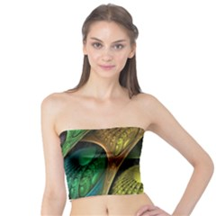 Psytrance Abstract Colored Pattern Feather Tube Top