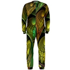 Psytrance Abstract Colored Pattern Feather Onepiece Jumpsuit (men)