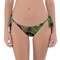 Psytrance Abstract Colored Pattern Feather Reversible Bikini Bottom