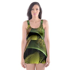 Psytrance Abstract Colored Pattern Feather Skater Dress Swimsuit