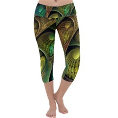 Psytrance Abstract Colored Pattern Feather Capri Yoga Leggings