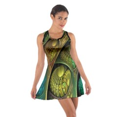 Psytrance Abstract Colored Pattern Feather Cotton Racerback Dress