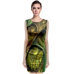 Psytrance Abstract Colored Pattern Feather Classic Sleeveless Midi Dress
