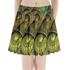 Psytrance Abstract Colored Pattern Feather Pleated Mini Skirt