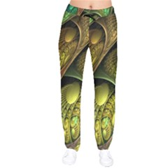 Psytrance Abstract Colored Pattern Feather Drawstring Pants