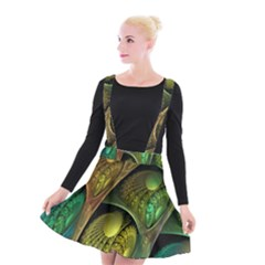 Psytrance Abstract Colored Pattern Feather Suspender Skater Skirt