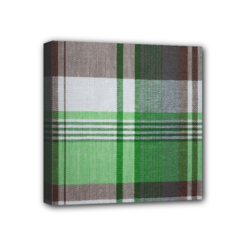 Plaid Fabric Texture Brown And Green Mini Canvas 4  X 4