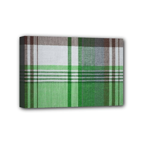 Plaid Fabric Texture Brown And Green Mini Canvas 6  X 4